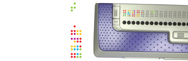 Braille display with colour braille dots
