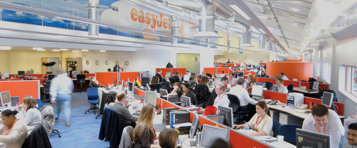 A photo of the terminals in use at easyJet.