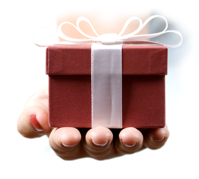 Small red gift box with a ribbon bow