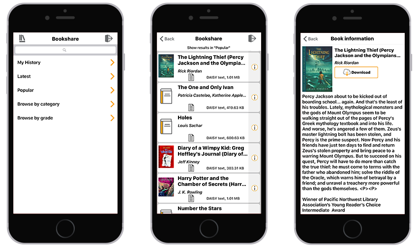 3 iPhones showing the Bookshare library, a sample list of books, and a sample book information screen