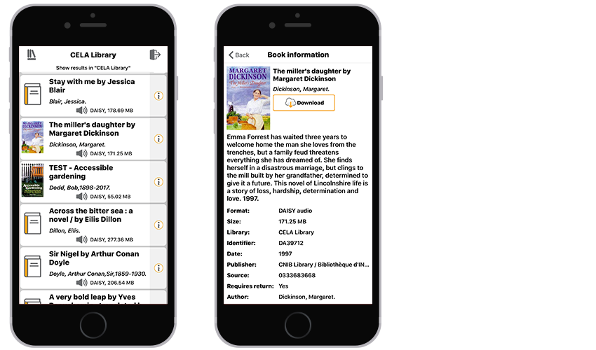 2 iPhones showing a sample list of books in the CELA library and a sample book information screen