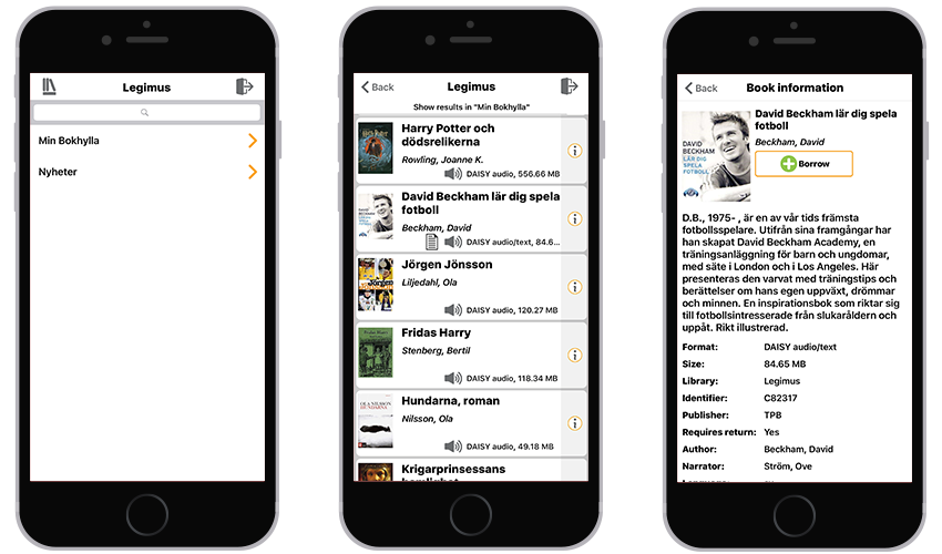 3 iPhones showing Legimus library, a sample list of books, and a sample book information screen