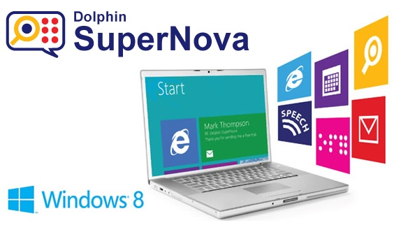 Laptop image showing Windows 8 features with Supernova logo